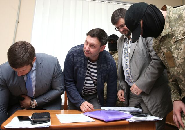 Journalist Kirill Vyshinsky, the director of Russian state news agency RIA Novosti Ukraine, attends a preliminary court hearing in Kherson, Ukraine May 17, 2018