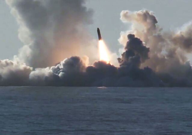 A Bulava ballistic missile launched at the Kura training ground from the submarine cruiser Yury Dolgoruky in the White Sea