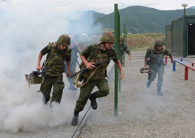 Russian troops during exercises at the Kanchaveli advanced outpost. Respublika South Ossetia