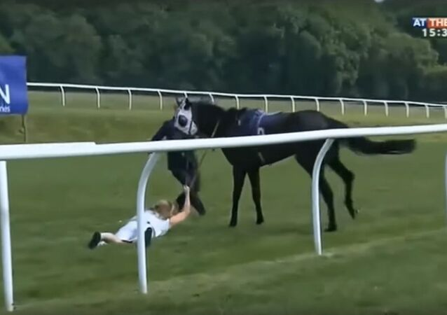 Hayley Moore - At The Races presenter amazingly catches loose horse