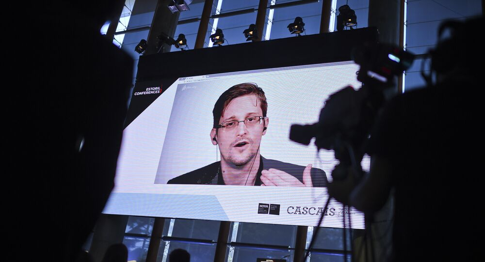 US former CIA employee and whistle-blower Edward Snowden delivers a speech by video conference during the debate at the Estoril Conferences - Global Challenges Local Answers held at Estoril, outskirts of Lisbon, on May 30, 2017