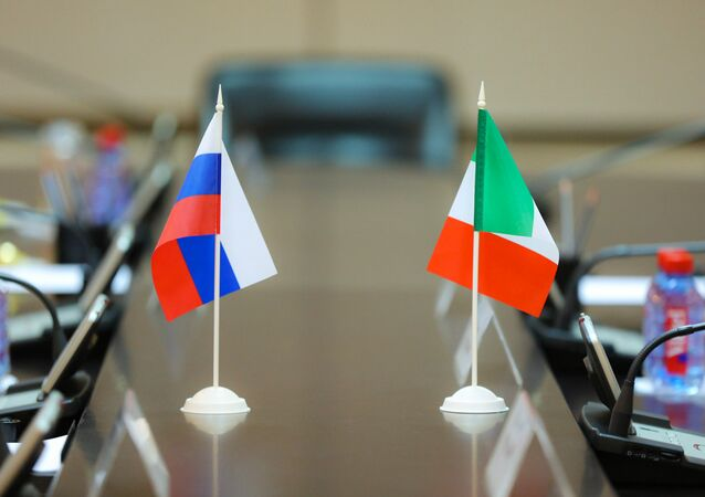 Russian and Italian flags