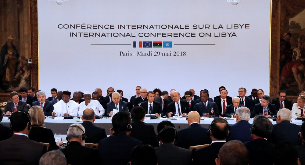 A view shows an international conference on Libya with Libyan leaders, heads of the states sharing borders with the country, European represent and French President Emmanuel Macron at the Elysee Palace in Paris, France, May 29, 2018
