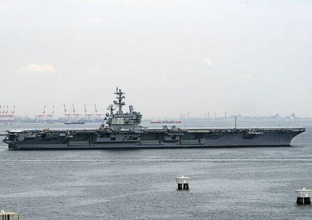 USS Ronald Reagan leaving Yokosuka, Japan on May 29, 2018.