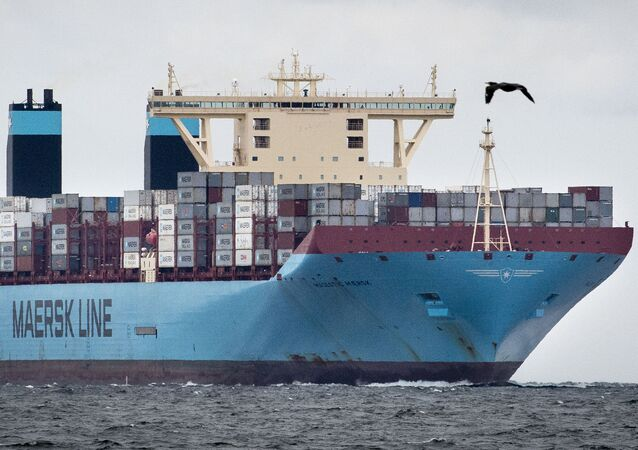 (File) A picture taken on October 13, 2015 shows a vessel operated by Danish shipping group Maersk Tankers passing Sletterhage on its way to Aarhus