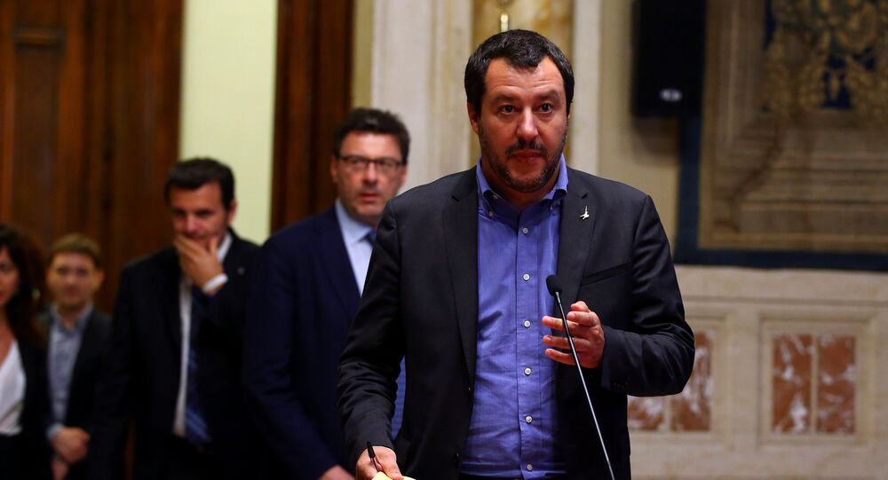 League party leader Matteo Salvini arrives to speak at the media after a round of consultations with Italy's newly appointed Prime Minister Giuseppe Conte at the Lower House in Rome, Italy, May 24, 2018