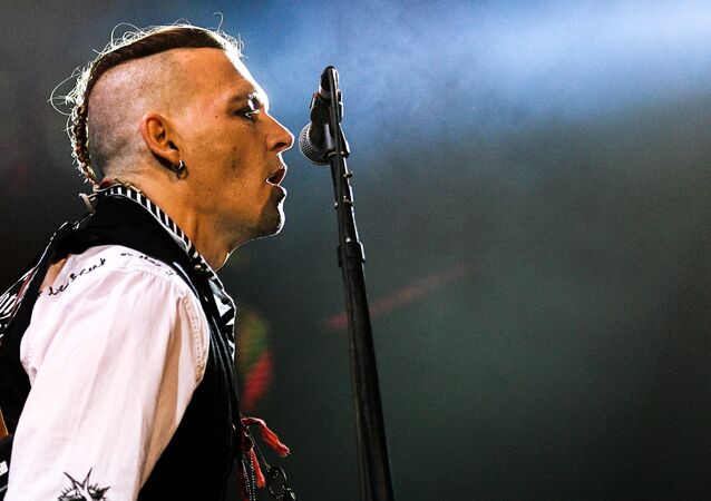 Actor Johnny Depp during a performance at the Olimpiysky sports complex