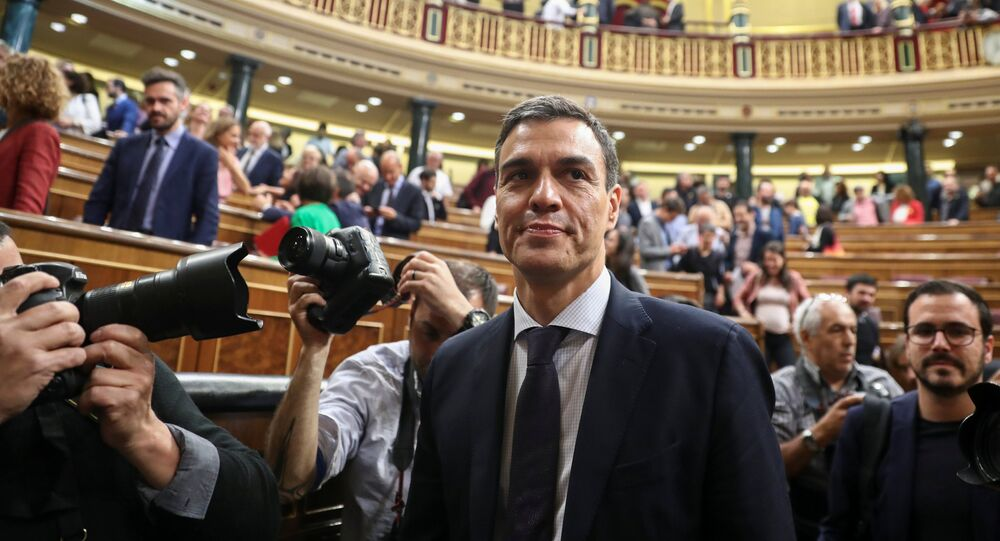 Spain's new Prime Minister and Socialist party (PSOE) leader Pedro Sanchez stands in the chamber after a motion of no confidence vote at parliament in Madrid, Spain, June 1, 2018