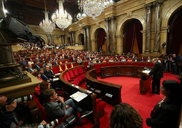 Quim Torra, delivers a speech at the start of an investiture debate at the regional parliament in Barcelona, Spain, May 14, 2018