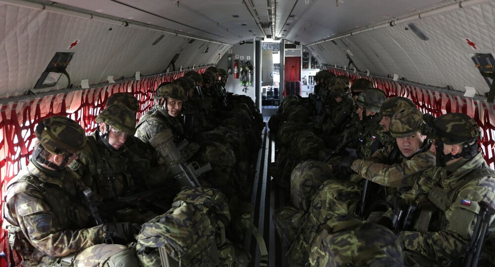 Czech Republic's soldiers from the 43rd airborne battalion sit inside an aircraft during the NATO drill The Noble Jump at the airport in Pardubice, Czech Republic (File)