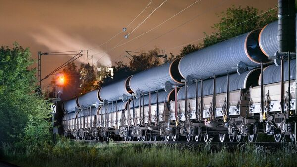 The pipes produced at Europipe in Mühlheim, Germany, are transported to the Mukran logistics hub by rail - Sputnik International