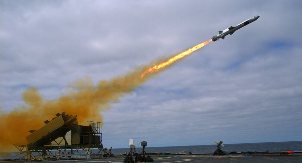 A Kongsberg Naval Strike Missile (NSM) is launched from the U.S. Navy littoral combat ship USS Coronado (File)
