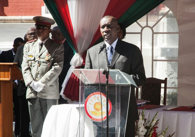 (FILES) In this file photo taken on April 13, 2016, Olivier Mahafaly Solonandrasana then newly appointed Madagascar Prime Minister delivers a speech during the swearing in ceremony at Mazoharivo Palace in Antananarivo