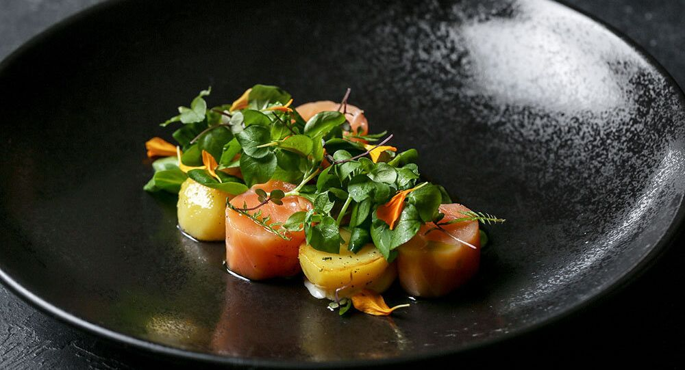 Baran-Rapan's lightly smoked salmon with potato confit in Ccaucasian herbs and dill aioli