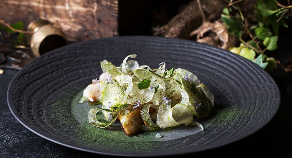 Baran-Rapan's Cod with anise fennel, miso sauce and minty apple