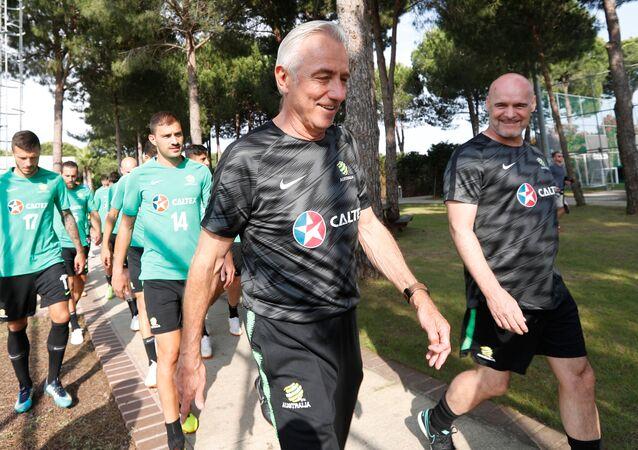 Soccer Football - FIFA World Cup - Australia Training - Antalya, Turkey - May 29, 2018 Australia coach Bert van Marwijk before training