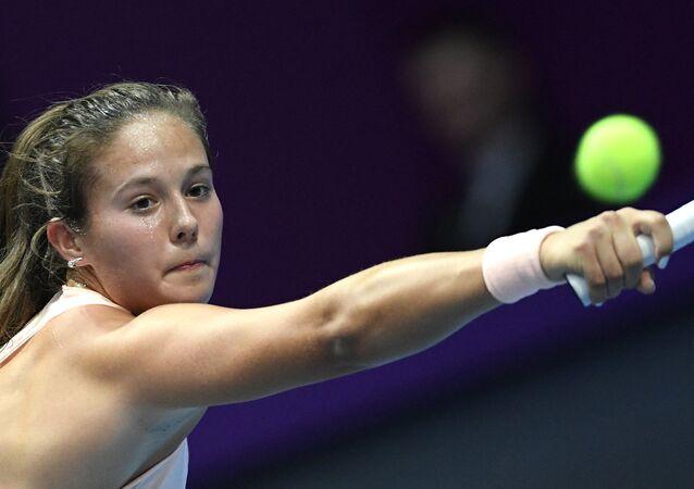 Darya Kasatkina of Russia at the women's singles match against Viktoria Kuzmova of Slovakia at the St. Petersburg Ladies Trophy 2018