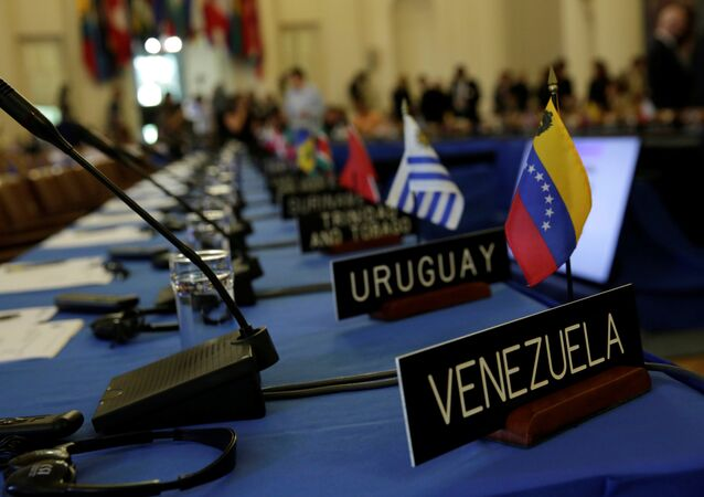 Delegates' seats are prepared for the Organization of American States' (OAS)