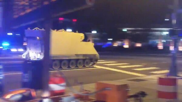 An armoured personnel carrier (APC), which was purpotedly stolen, drives along a street in Richmond, Virginia, U.S. June 5, 2018, in this still image taken from a video obtained from social media - Sputnik International