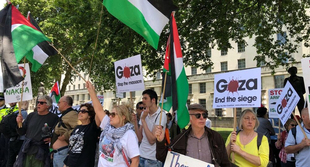 Protesters outside Downing Street, London
