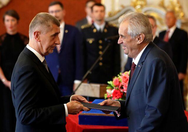 Czech President Milos Zeman (R) appoints Andrej Babis as the country's Prime Minister at Prague Castle in Prague, Czech Republic, June 6, 2018