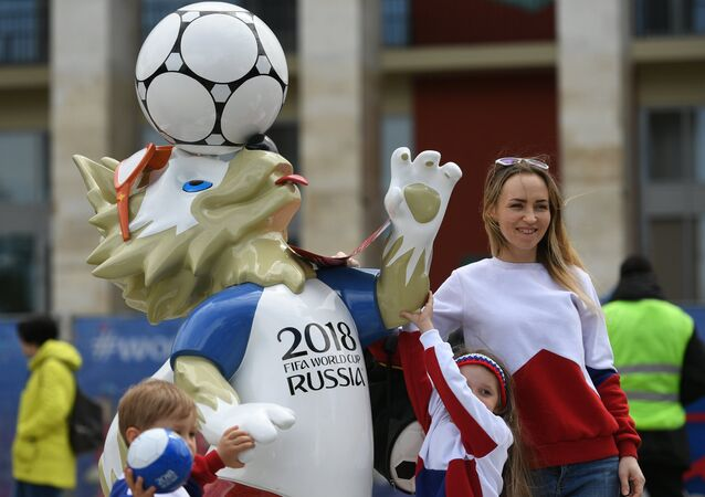 St. Petersburg residents and tourists at the opening of the 2018 FIFA World Cup Football Park.