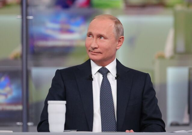 Russian President Vladimir Putin answer questions from Russia's citizens during the annual special Direct Line with Vladimir Putin broadcast live by Russian TV channels and radio stations