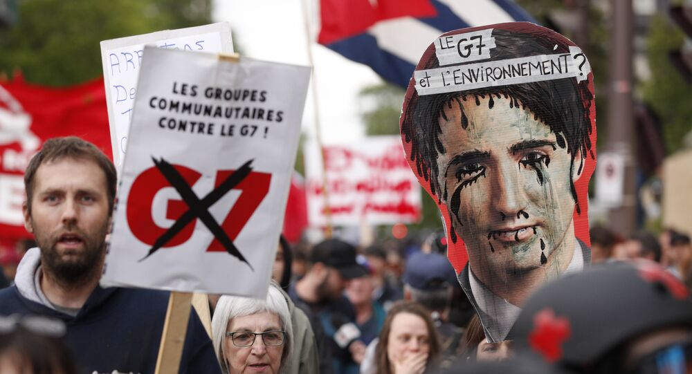 Anti-G7 protestors gather for a demonstration in Quebec City, Quebec, June 7, 2018, on the eve of the leaders' summit