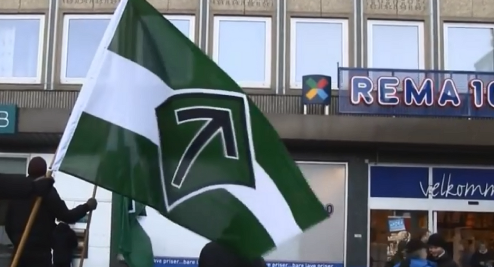 Flag of the neo-Nazi Nordic Resistance Movement.