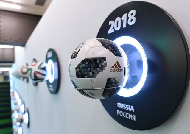 The official ball of the World Cup 2018 Telstar 18 at the exhibition of the FIFA world football museum in the gallery Hyundai Motorstudio in Moscow.
