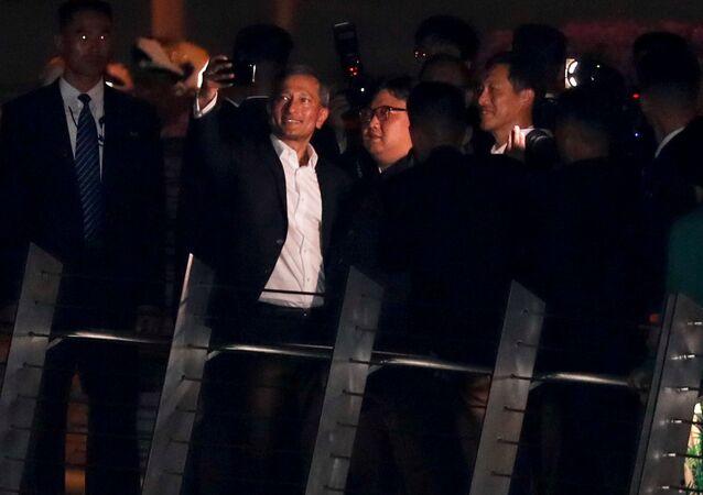 Singapore's Foreign Minister Vivian Balakrishnan takes a selfie with North Korea's leader Kim Jong Un, June 11.