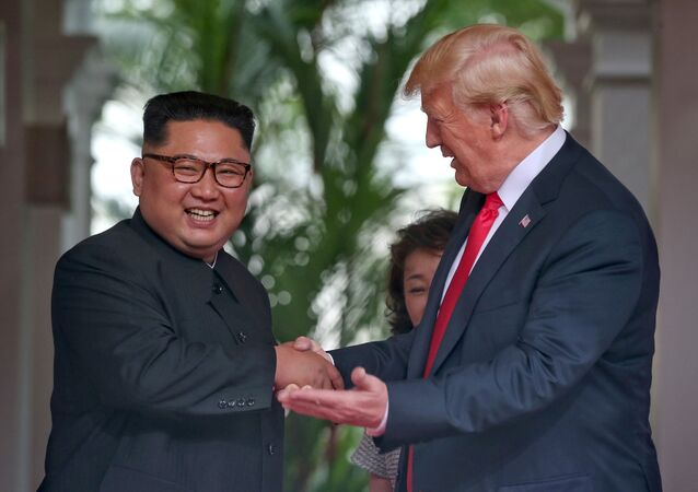 U.S. President Donald Trump meets North Korean leader Kim Jong Un at the Capella Hotel on Sentosa island in Singapore June 12, 2018.