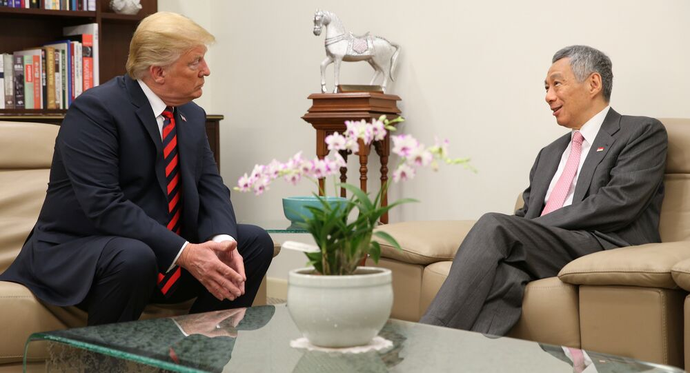 U.S. President Donald Trump meets with Singapore's Prime Minister Lee Hsien Loong at the Istana in Singapore June 11, 2018