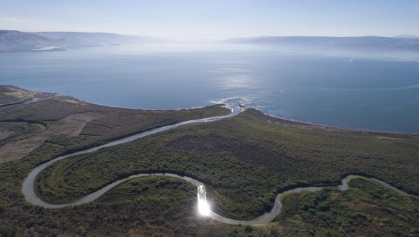An aerial view shows the Jordan River estuary of the Sea of Galilee near the community settlement of Karkom, northern Israel (File) - Sputnik International