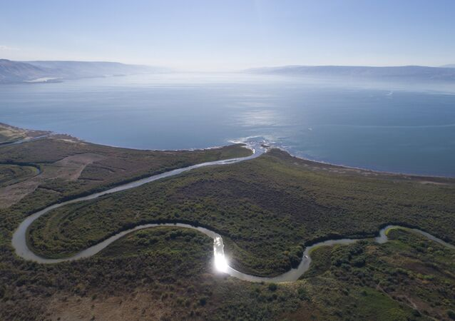 An aerial view shows the Jordan River estuary of the Sea of Galilee near the community settlement of Karkom, northern Israel (File)