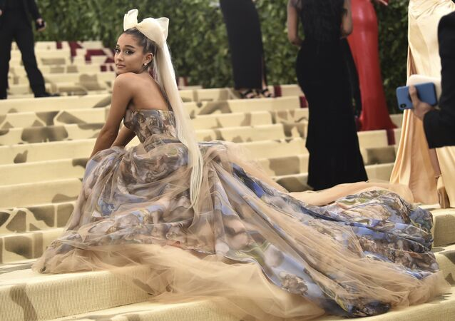 Ariana Grande attends The Metropolitan Museum of Art's Costume Institute benefit gala celebrating the opening of the Heavenly Bodies: Fashion and the Catholic Imagination exhibition on Monday, May 7, 2018, in New York