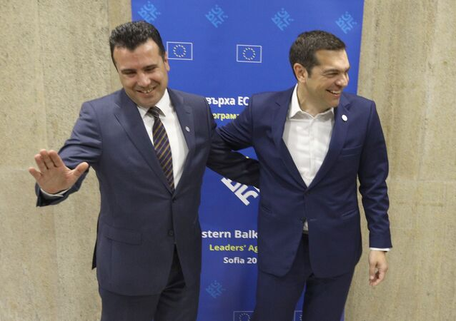 Greek Prime Minister Alexis Tsipras meets with Macedonian Prime Minister Zoran Zaev at the EU-Western Balkans Summit in Sofia, Bulgaria, May 17, 2018