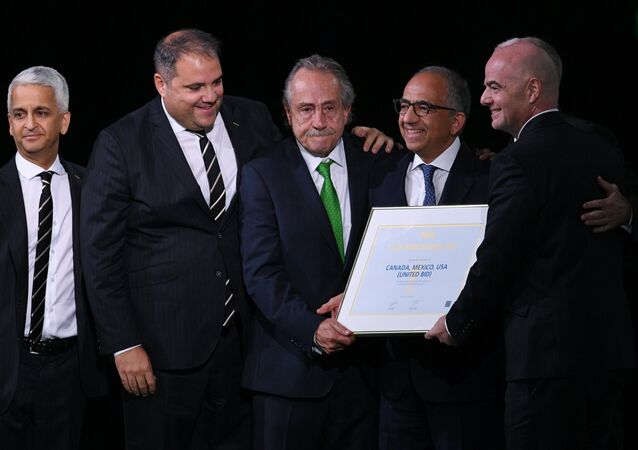 Member of the FIFA executive committee Sunil Gulati, president of the Football Confederation of the North and Central America and the Caribbean (CONCACAF) Victor Montaliani, President of the Mexican Football Association Justino Compean, President of the US Football Association Carlos Cordeiro, FIFA President Gianni Infantino (from left to right) at the 68th Congress of the International Football Federation. Congress decided to hold the World Cup in football in 2026 in Mexico, the US and Canada.