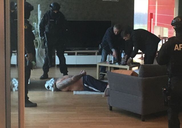 James Mulvey being arrested in Kaunas, Lithuania after a joint operation with UK's National Crime Agency