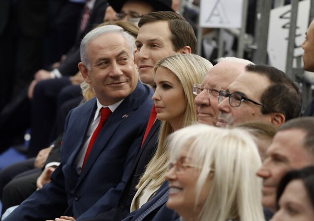 Israel's Prime Minister Benjamin Netanyahu (L), Senior White House Advisor Jared Kushner (C-R), US President's daughter Ivanka Trump (3rd R), US Treasury Secretary Steve Mnuchin (R) and Israel's President Reuven Rivlin (2nd R) attend the opening of the US embassy in Jerusalem on May 14, 2018