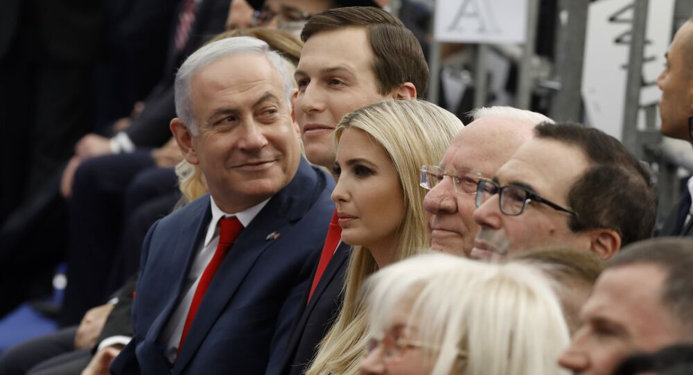 Israel's Prime Minister Benjamin Netanyahu (L), Senior White House Advisor Jared Kushner (C-R), US President's daughter Ivanka Trump (3rd R), US Treasury Secretary Steve Mnuchin (R) and Israel's President Reuven Rivlin (2nd R) attend the opening of the US embassy in Jerusalem on May 14, 2018