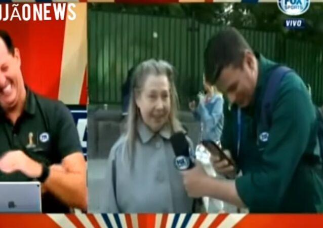 Russian woman fights with Brazilian Fox Sports reporter