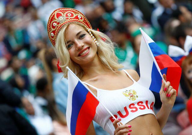 Soccer Football - World Cup - Group A - Russia vs Saudi Arabia - Luzhniki Stadium, Moscow, Russia - June 14, 2018 Russia fan before the matc