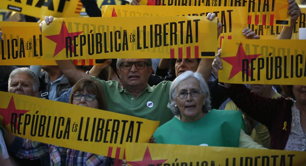 Demonstrators gather during a protest in support of the imprisoned politicians and against article 155, which means the Madrid government taking direct control of Catalonia, in Barcelona, Spain, Monday, May 21, 2018