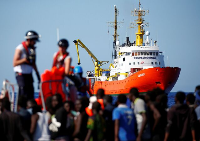 The MV Aquarius rescue ship is seen as migrants on are rescued by the SOS Mediterranee organisation during a search and rescue (SAR) operation in the Mediterranean Sea, off the Libyan Coast, September 14, 2017