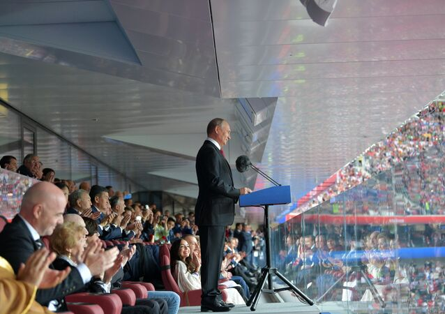 Russian President Vladimir Putin speaks at the opening ceremony of the FIFA 2018 World Cup in Moscow. June 14, 2018.