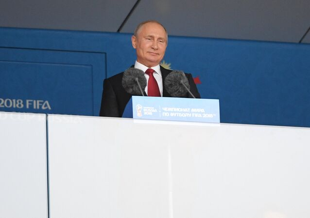 Russian President Vladimir Putin speaks at the opening ceremony of the FIFA 2018 World Cup in Moscow. June 14, 2018