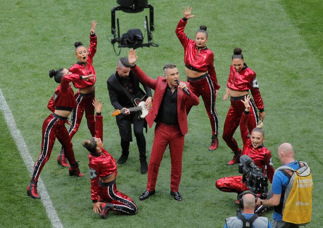 Soccer Football - World Cup - Opening Ceremony - Luzhniki Stadium, Moscow, Russia - June 14, 2018 Robbie Williams performs during the opening ceremony