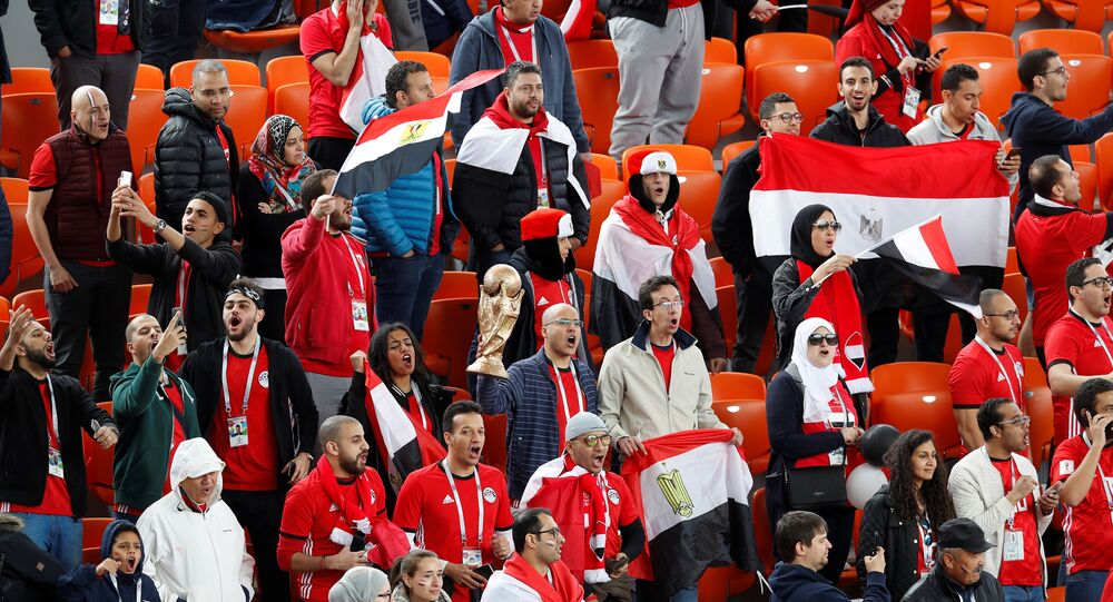 Soccer Football - World Cup - Group A - Egypt vs Uruguay - Ekaterinburg Arena, Yekaterinburg, Russia - June 15, 2018 Egypt's fans before the match
