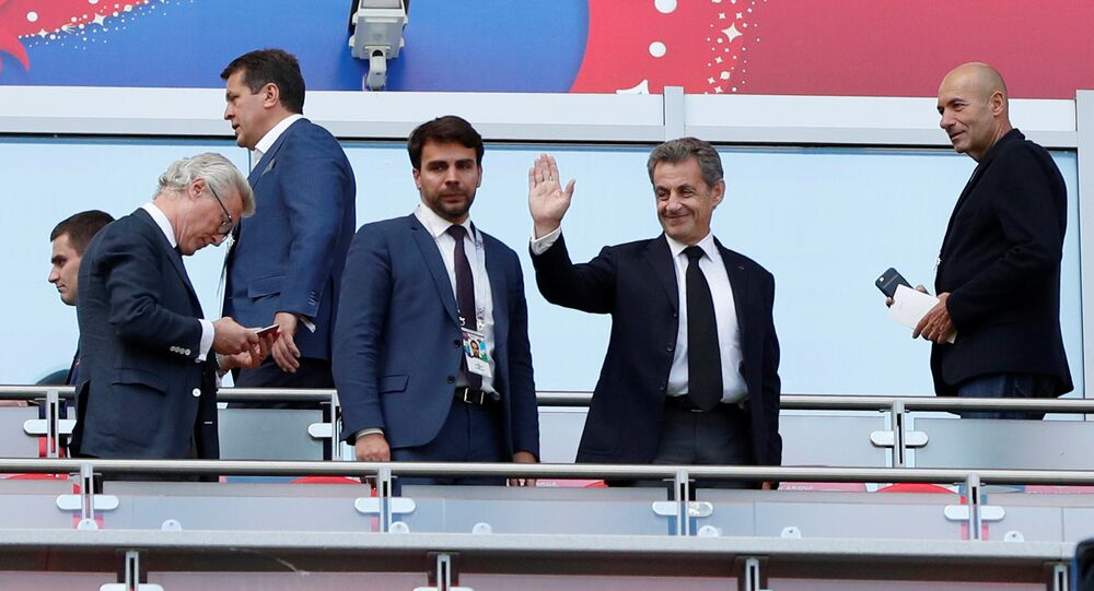 Soccer Football - World Cup - Group C - France vs Australia - Kazan Arena, Kazan, Russia - June 16, 2018 Former French President Nicolas Sarkozy before the match